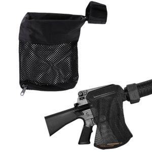 Tactical Nylon malha de bronze Shell Collector Net saco latão apanhador de malha de bolso com zíper fundo para Quick Descarregar