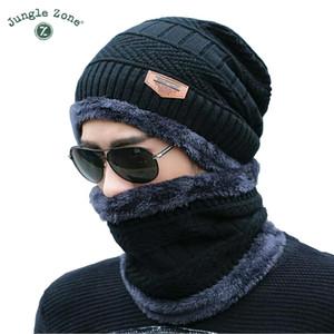 Черная шляпа шарф из двух частей cap шеи теплая зима hat вязаные шапки мужские шапки мужская вязаная шапка флис вязаные шапки Skullies шапочки D18110601