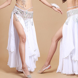 Arabic 2 layers dance dress chiffon belly dance skirt slits bellydance long skirt professional women bell