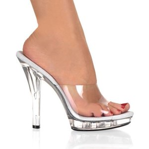 New Transparent PVC Crystal Sandals Women Slingbacks Slipper 13 cm High Heels Cut out Peep toe Lucent Stage Sandals Night Club Shoes