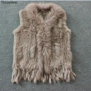 Harppihop Free shipping womens natural real  fur vest with raccoon fur collar waistcoat/jackets rex  knitted winte