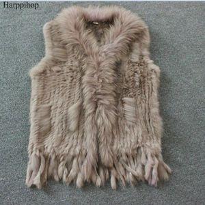 Harppihop Ücretsiz nakliye rakun kürk yaka yelek / ceket örme winte doğal kürk gerçek yelek womens