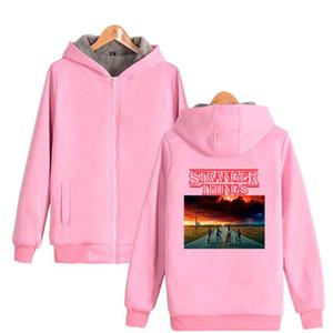 Plus Size Winter Jacket Hombres 2018 Ciencia ficción thriller TV jugar Stranger Things Season 2 Thicken Warm Zipper Pink Hoodies Sudaderas
