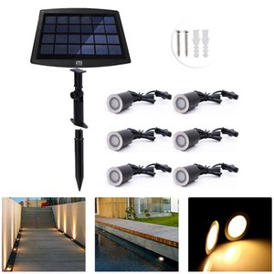 YWXLight 6 PCS LED Solar Deck Lights IP67 Waterproof Light Sensing outdoor Light Embedded Decorative Underground Lamp