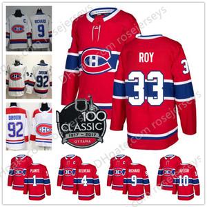 Montreal Canadiens # 4 Jean Beliveau 9 Maurice Richard 10 Guy Lafleur 33 Patrick Roy 1 Jacques Plante Vermelho Branco Retirado Jogador Hockey Jersey