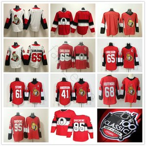 2018 جديد 100th Classic Ottawa Senators Hockey 65 Erik Karlsson 41 Craig Anderson 61 Mark Stone 68 Mike Hoffman 95 Matt Duchene Jersey