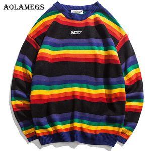 Aolamegs Sweater Homens do arco-íris listrado cor hit Mens Pullover solto High Street Camisolas Moda Malha masculino Sweater Streetwear
