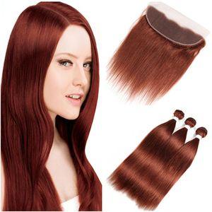 Dark Auburn Virgin волос Плетение Связки с Lace Фронтальная Закрытие 13x4 уха до уха Малайзийский # 33 Copper Red человеческих волос ткет Extensions