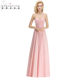 2018 Customized 34 colors Spaghetti Straps A-Line Chiffon Bridesmaid Dresses Sweetheart Long Wedding Party Dresses Prom Gowns