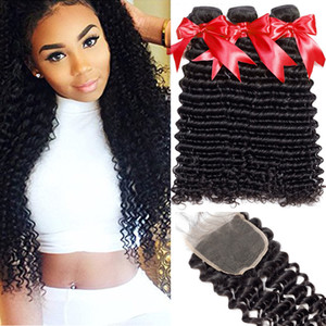 8A Virgin Hair Extensions du Brésil vague profonde 3 Bundles avec Free Partie 4x4 dentelle Fermeture vierge humaine Bundles non transformé cheveux avec fermeture