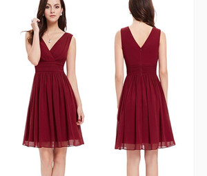 2019 Burgundy Short Bridesmaid Dresses Country Cheap V Neck Ruched Chiffon Maid of Honor Prom Party Gowns Plus Size Custom Made Under 50