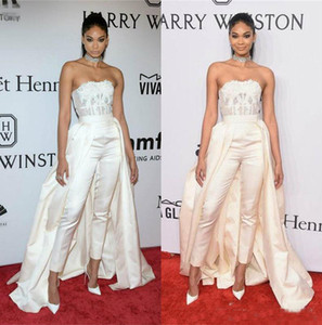 Charming Zuhair Murad Jumpsuit Prom Dresses With Removable Skirt Red Carpet Bateau Simple Lace Applique Corset Evening Gowns Formal Wear