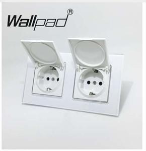 Çift Toz Kapağı AB Schuko Soket Wallpad Beyaz Kristal Cam Panel 110 V-250 V Çift Schuko Duvar Priz AB Pençeleri Klipler ile