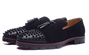 """Süper Kalite Erkekler """"ın Düz Düğün Rahat Ayakkabılar Kırmızı alt Rossini Düz Geunine Deri Kırmızı Tabanlar Sneakers Erkekler Spike Siyah Süet 38-46"""