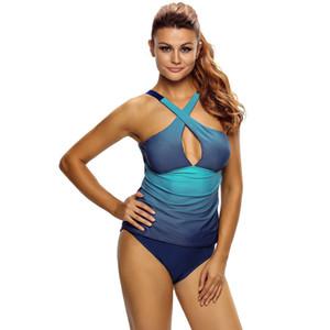 2 Colori sfumati per PC Color Cross Wrap Anteriore Increspato Plus Size Costume da bagno Sexy Women Tankini Set Costumi da bagno Vestito Costumi da bagno S - 3XL