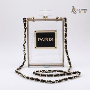 Botella de perfume de encaje sólido Transparente de las mujeres bolsos de embrague de acrílico diseñador de lujo Bolsos de cadena única moda damas monedero 5046 D18110106