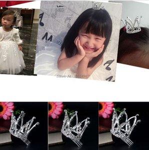 Mini Mulheres Menina Rhinestone Crown Nupcial Tiara Pin Pente de Cabelo Para Festa de Casamento-W128