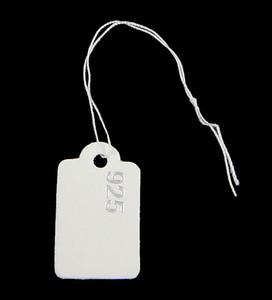 Schmuck Preisschild 16x26x0,3mm, 0,2mm quadratische Papier Halskette Ring hängen Schmuck Preis Etiketten Tags mit Aufkleber 500PCs / Tasche