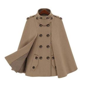 Nueva moda de las mujeres europeas mantón capa del cabo de doble botonadura de lana de invierno capas y ponchos capa femenina otoño chaqueta