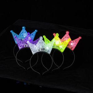 Lindo Kids Head Band Tendencia Luminosa LED Luz Hair Hoop Hollow Out Diseño Plastic Crown Diadema Para Navidad 2 19by ZZ