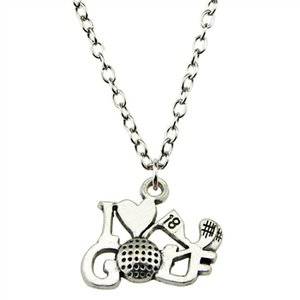 WYSIWYG 5 Pieces Metal Chain Necklaces Pendants Male Necklace Fashion I Love Golf 17x22mm N2-B11544