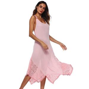 Sexy Womens Solide Farbe Midi Kleider Weibliche Spitze Spaghetti Strap Sommer Backless Dünne Kleider Kostenloser Versand