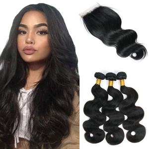 العذراء البرازيلي الجسم موجة الإنسان الشعر 3 حزم مع إغلاق الأسود الطبيعي 10-28Inch غير المجهزة الهندي الماليزي بيرو عذراء الشعر الإنسان