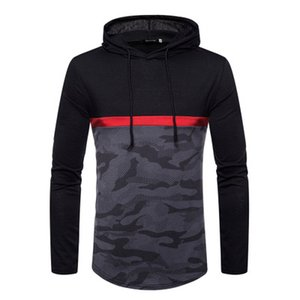 2018 autumn and winter new European code men's hooded T-shirt long-sleeved hooded color matching fashion slim T-shirt