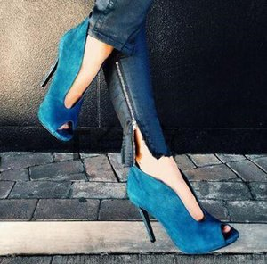 2018 Sexy Open Toe Ankle Boots Fashion V Style Velvet Sandals Hot Women Shoes High Heels Peep Toe Boots Plus Size 34-42