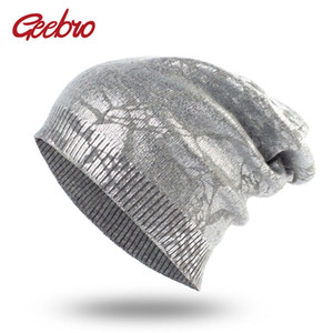 Geebro Women's Metallic Color Beanie Hat Spring Single layer Knit Cashmere Hats Wool Slouchy Beanies for Femme Bronzing Skullies Y18110503