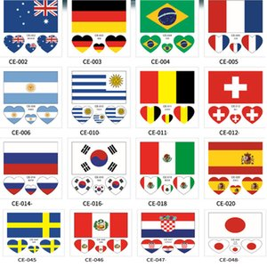 Country Flag Tattoo Sticker Waterproof National Flag Banners soccer Match Soccer Fans Face Wrist Body Stickers 32 Teams HH7-975