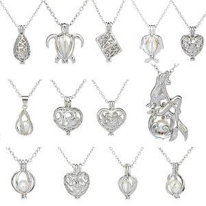 Love Wish Pearl Jaulas Collar Colgante Love Heart Hollow Out Oyster Pearl Locket Collar de Perlas de Agua Dulce Sirena Joyería DIY