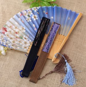 Nuevo regalo chino del viento de la venta caliente japonesa abanico de seda y ventilador plegable danza de los abanicos apoyos T4H0230