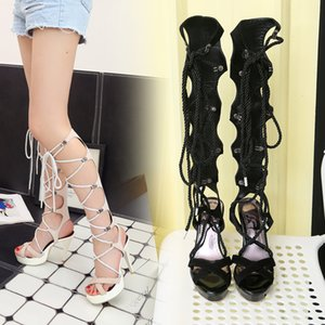 Super Sexy Summer Suede Knee High Cross Tied Laced Up Stiletto Heels Women's Pole Dancing Sandals Boots Ladies Fashion Shoes