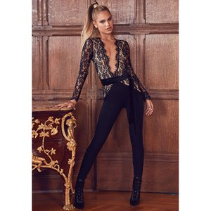 Newest Sexy Long Sleeve Black Lace Bandage Long Jumpsuits 2018 V Neck Cocktail Celebrity Evening Party Jumpsuit Runway Rompers