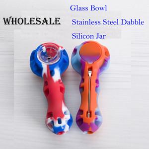 Renkli silikon el boru ile cam kase rastgele renk Silikon dab rig Nargile Bongs cam kase dab aracı toptan