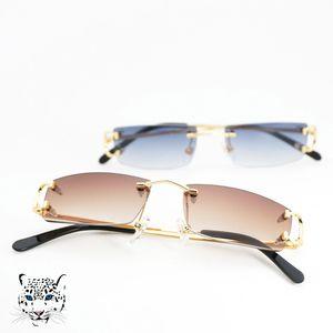 Petite taille Place Rimless Lunettes de soleil Hommes Femmes avec C Décoration Cadre fil unisexe luxe lunettes pour l'été en plein air Traveling