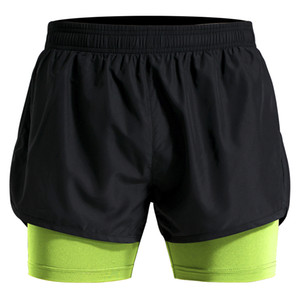2 In 1 Men's Polyester Training Shorts Breathable Marathon Running Shorts Loose Sport Short Pants M-4XL Plus Size Gym Short