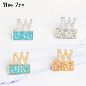 Miss Zoe JW. ORG Pin del emaille Blauw goud zilver Regalo di Broches Getuigen di Jehovah Regalo Jeans Denim Pin Badge Knop Revers pin per berretto Kleding