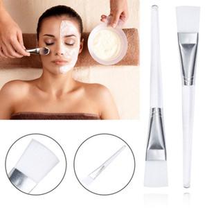 Masque facial Brosse Visage Traitement Maquillage Outil Masque de boue Applicateur Brosse avec des soins de la peau de poignée en plastique transparent