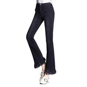 WZJHZ Jeans Flare Haut de la femme taille Boot Cut Jeans Denim Pantalons mode élastique pantalon noir bleu sexy mince taille haute