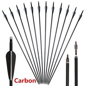Nuove frecce di alta qualità in carbonio 30 tiro con l'arco in carbonio frecce da caccia con cocca regolabile e punti di campo sostituibili per composto