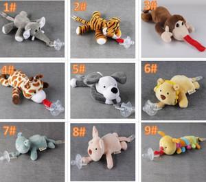 10 Estilo Nuevo chupete de silicona con juguete de peluche Baby Giraffe Elephant Nipple Kids Newborn Toddler Los productos para niños incluyen chupetes