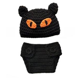 Костюм новорожденного страшного черного кота, вязаная крючком вязаная крючком рукавица для новорожденного мальчика, костюм на Хэллоуин, набор для подгузников в виде кошачьей шляпы, детская опора для фото