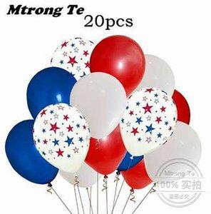 20 unids 12 pulgadas globo de látex 2018 Día Nacional EE. UU. Patriot American Star Balls Party Fiesta de cumpleaños Decoración Globos