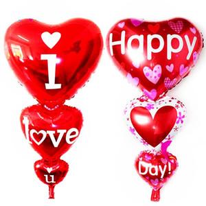 98 * 50 cm en forme de coeur je t'aime ballons feuille rouge décoration de fête fiançailles anniversaire mariages Valentine ballons