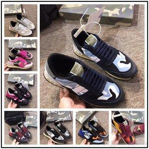 Perfeito Camustars Sapatilhas Sapatos Das Mulheres Dos Homens de Alta Qualidade Rock Runner Camuflagem Malha De Couro Estrela Rock Studded Casual Esportes Ao Ar Livre