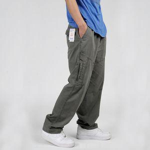 Men Cargo Pants Summer 2016 Side Zipper Pocket Casual Cotton Loose Joggers Wide Leg Elastic Waist Long Trousers XL-6XL