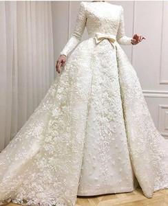 2019 Muçulmanos Vestidos de Noite Barco Decote Mangas Compridas Lace Appliqued Frisado Vestidos De Noiva com Casacos Overskirts Vestido