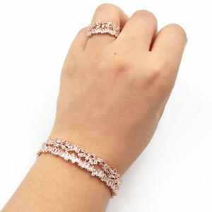Hadiyana new T Cubic zirconia cooper bellissimo bracciale regalo per donna classico amore matrimonio bracciale multistrato Baguette